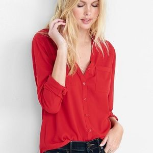 Express Red Portofino Button Up Blouse Top - D
